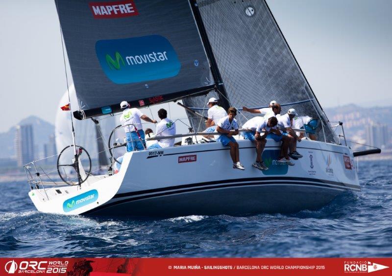 """El """"Movistar"""", durante la jornada de hoy viernes © María Muiña-SailingShots/Barcelona ORC World Championship"""