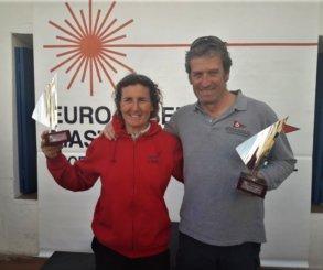 Antoni Roig (CV Calella) y Mónica Azón (CN El Masnou), campeones de la Euro Laser Masters Cup 2018